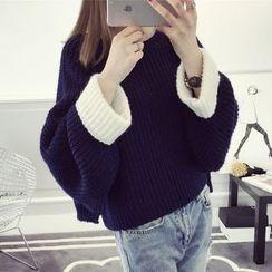 CHERJOE - 配色袖口粗針織毛衣