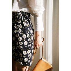 CHERRYKOKO - Tie-Waist Floral Wrap Skirt