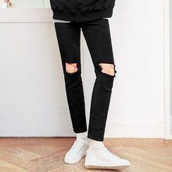 MEOSIDDA - Distressed Slim-Fit Pants
