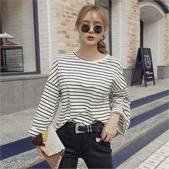 LIPHOP - Stripe Drop-Shoulder T-Shirt
