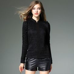 Y:Q - Stand Collar Long-Sleeve Lace Top