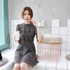 mimi&didi - Mock-Neck Elbow-Sleeve Pattern Chiffon Dress