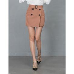 GUMZZI - Belted-Waist Buttoned Mini Skirt