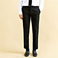 THE COVER - Flat-Front Straight-Cut Dress Pants