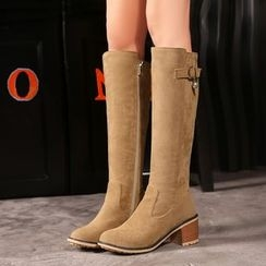 Pastel Pairs - Buckled Block Heel Tall Boots