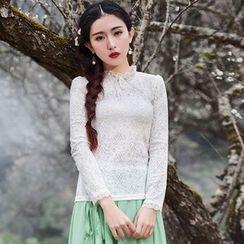 GU ZHI - Ruffled Long-Sleeve Lace Top
