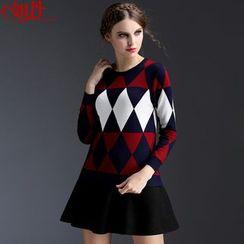 Kotiro - Patterned Knit Pullover / Pleated Skirt / Set: Patterned Knit Pullover + Pleated Skirt