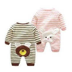 MOM Kiss - Baby Animal Stripe Long-Sleeve One-piece