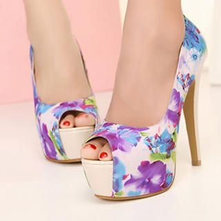 Mancienne - Floral Peep-Toe Stilettos