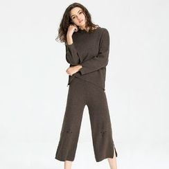 KAKO KARA - Set: Ripped Side Zip Sweater + Knit Wide Leg Pants