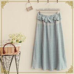 Fairyland - Color-Block Frilled Long Skirt