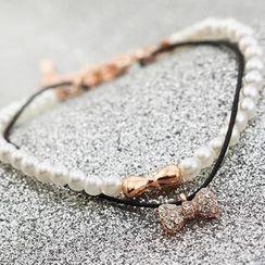 潮野 - 仿珍珠蝴蝶結層層手鏈