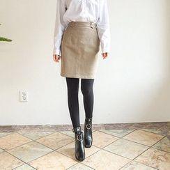 Seoul Fashion - Brushed-Fleece Lined Mini Pencil Skirt