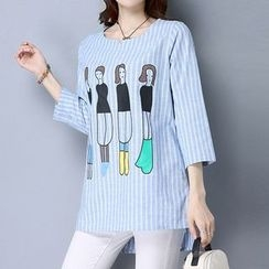 Lavogo - Printed Striped 3/4 Sleeve Top