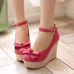Sidewalk - Ankle-Strap Bow-Accent Wedge Pumps