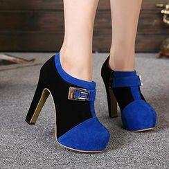 Mancienne - Color-Block Buckled Shoe Boots