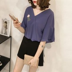 Little V - Embroidered Elbow-Sleeve Chiffon Top