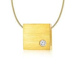 MBLife.com - Left Right Accessory - 9K/375 Yellow Gold Satin Finish Square Cube Diamond Necklace 16' (0.006 ct)