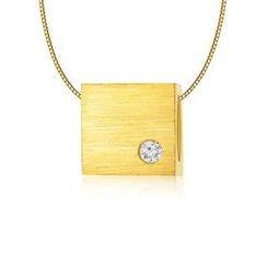 MBLife.com - Left Right Accessory - 9K黃色黃金單顆鑽石正方立體項鏈 (16')