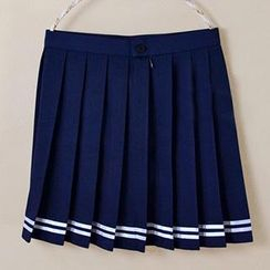 Skool - Striped Pleated Skirt