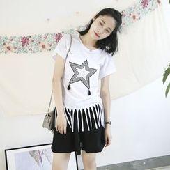 蘭芝 - 短袖流蘇邊T恤