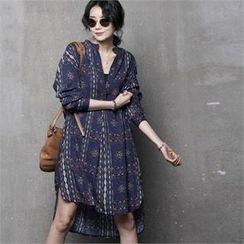 HALUMAYBE - Dip-Back Patterned Dress