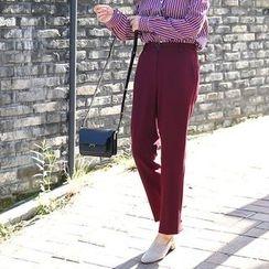 Seoul Fashion - Band-Waist Straight-Cut Dress Pants
