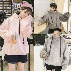 Zzang Girls - Plain Furry Hoodie