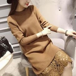 Autunno - Long-Sleeve Lace-Panel Knit Dress