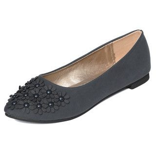 yeswalker - Beaded Flower-Accent Flats