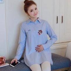 Hearty Bliss - Maternity Embroidered Long Shirt