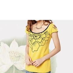 Zyote - Short-Sleeve Print Rhinestone T-Shirt