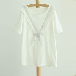 Angel Love - Lace Trim Bow Short-Sleeve T-Shirt