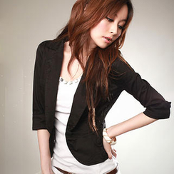 PUFII - 3/4-Sleeve Single-Button Blazer