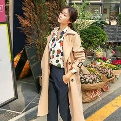 Seoul Fashion - Double-Breasted Trench Coat with Belt
