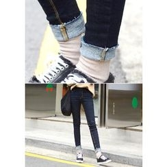 DEEPNY - High-Waist Stitched Skinny Jeans