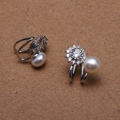 ViVi Pearl - Freshwater Pearl Rhinestone Stud Earrings