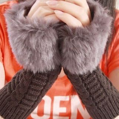 Damasco - Furry Ribbed Fingerless Gloves