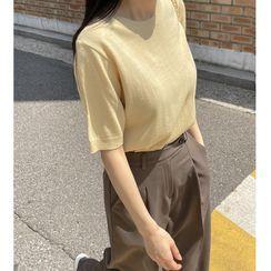 Miamasvin - Puff-Sleeve Tasseled Lettering Shift Dress