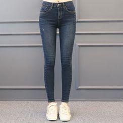 DANI LOVE - Brushed-Fleece Lined Skinny Jeans