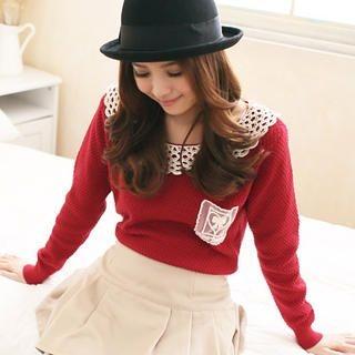 CatWorld - Crochet-Collar Knit Top