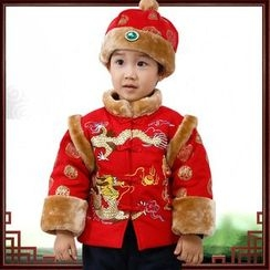 Snow Dragon - Kids Set : Traditional Chinese Jacket + Hat + Pants