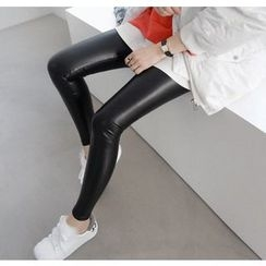 Miamasvin - Brushed-Fleece Lined Faux-Leather Leggings
