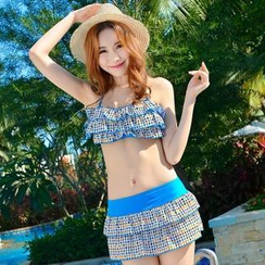 Lady J Swimwear - Couple Set: Ruffle Dotted Bikini + Swim Skirt / Swim Shorts