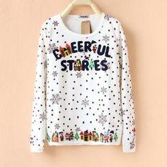 Cute Colors - Long-Sleeve Snowflake Print Appliqué T-Shirt