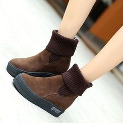Yoflap - Knit Panel Hidden Wedge Snow Boots