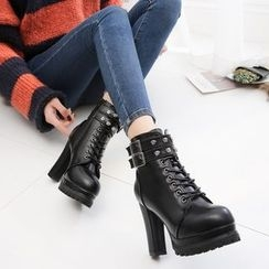 Yoflap - High Heel Buckled Lace Up Ankle Boots