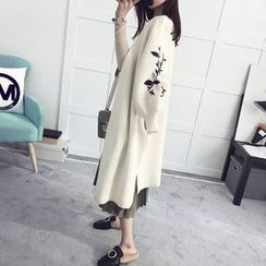 efolin - Flower Embroidered Long Cardigan