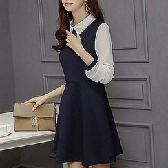 Fashion Street - Collared A-Line Dress