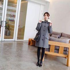 mimi&didi - Detachable Fleece-Panel Wool Blend Coat